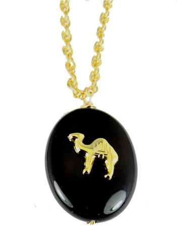 4031748 AEAONMS Masonic Black Stone Necklace Freemason Mecca Black Rock Mason Prince Hall Egyptian Camel