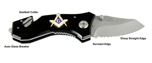 4031753 Mason Emblem Knife Auto Glass Breaker Seat Belt Strap Cutter Masonic Freemason Masonry