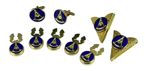 4031767 Set of Past Master Mason Cufflinks Button Covers Collar Tips Cuff Links Freemason