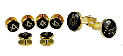 4031772 Mason Cufflinks and Tuxedo Stud Set Freemason Cuff Links