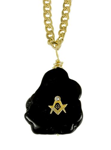 4031801 AEAONMS Masonic Black Stone Necklace Prince Hall Mecca Mason Freemason