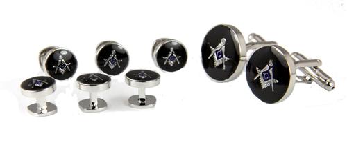 4031803 Mason Cufflinks and Tuxedo Stud Set Masonic Freemason Cuff Link Studs