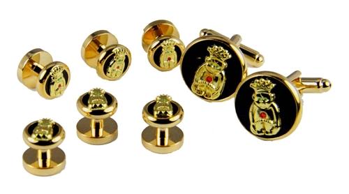 4031819 ROJ Tuxedo Stud Cufflink Set Jester Biliken Royal Order Jesters Shirt Studs