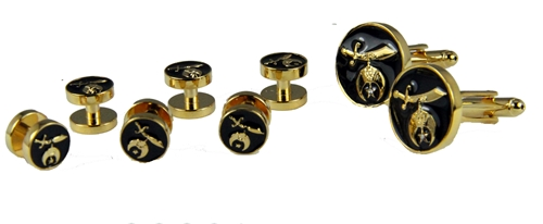 4031830 Shrine Tuxedo Shirt Studs and Cufflink Set Shriner Formal Dress Wear Cuff Links
