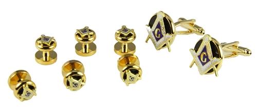 4031831 Mason Tuxedo Studs & Cufflink Set Masonic Cuff Links Freemason Scottish Rite