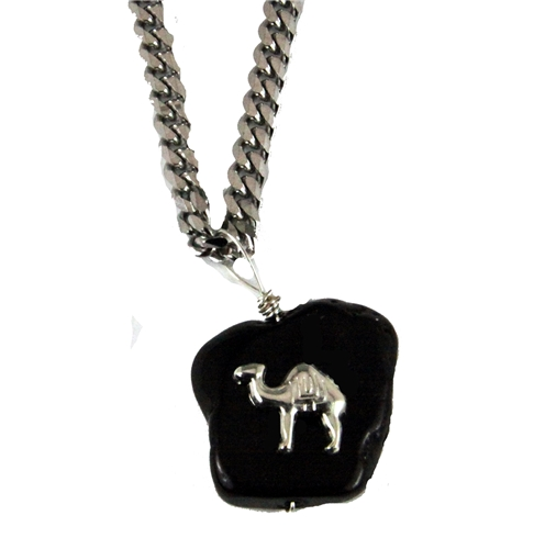 4031850 AEAONMS Masonic Black Stone Necklace Prince Hall Mecca Camel Mason