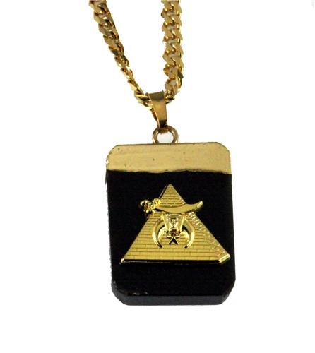 4031900 AEAONMS Masonic Black Stone Necklace Prince Hall Mecca Camel Mason Egypt Egyptian Pyramid