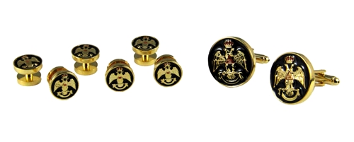 4031930 Scottish Rite 33 Degree Cuff Links Tuxedo Studs 33rd Degree Consistory Wings Up Supreme Council Jurisdiction