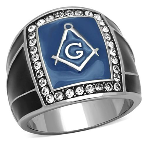 T31 Stainless Steel Masonic Ring Mason Square and Compass