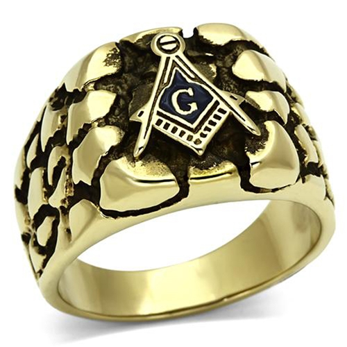 T33 Antiqued Stainless Steel Masonic Nugget Ring