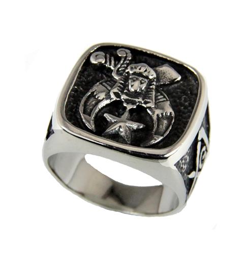 T37 Shrine Stainless Steel Ring Mason Shriner Scimitar Crescent Moon