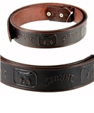 1010003 Genuine Leather Brown Shriner Belt Shrine Scimitar Crescent Star