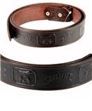 1010003 Genuine Leather Brown Shriner Belt Shrine Scimitar Crescent Star
