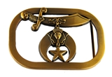4030329 Solid Brass Shriner Belt Buckle Shrine Scimitar Crescent and Star