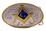 4031705 Mason Belt Buckle Masonic Blue Lodge Square and Compass