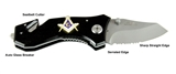 4031753 Mason Emblem Knife Auto Glass Breaker Seat Belt Strap Cutter Masonic Freemason Masonry