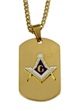 4031793 Mason Dog Tag Pendant Necklace Masonic Square Compass