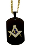 4031794 Mason Dog Tag Pendant Necklace Masonic Square Compass