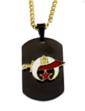 4031796 Shrine Dog tag Necklace Shriner Dogtag Scimitar Crescent Moon & Star