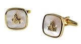 4031807 Mason Mother of Pearl Cufflinks Masonic Cuff Links Freemason Set Pair