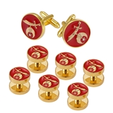 4031846 Set of 6 Shriner Tuxedo Studs & Pair Cuff Links Red Shirt Studs Shrine Noble