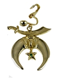 4031876 Single Shrine Clip On Earring Scimitar Moon & Star Shriner Unisex