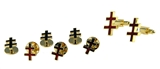 4031935 Scottish Rite 33rd Degree Double Cross Tuxedo Shirt Studs & Cuff Link Set Knights Templar Red Crosses