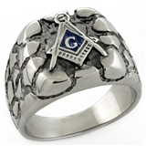 T32 Antiqued Stainless Steel Masonic Nugget Ring