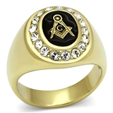 T35 Stainless Steel Mason Ring Rhinestones Square & Compass