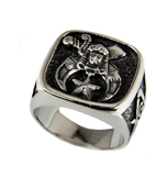 T37 Shrine Stainless Steel Ring Mason Shriner Scimitar Crescent Moon