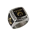 T70 Stainless Steel Shriner Ring Mason Masonic Square & Compass Blue Lodge Shrine Scimitar